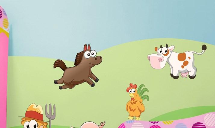 Stickers murali bambini cameretta animali della fattoria - Decorazioni murali per camerette bambini ...